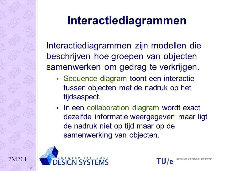 7M701 5 Interactiediagrammen Interactiediagrammen zijn modellen die beschrijven hoe groepen van objecten samenwerken om gedrag te verkrijgen. Sequence