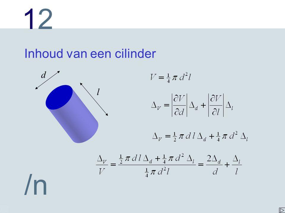 1212 /n Inhoud van een cilinder l d