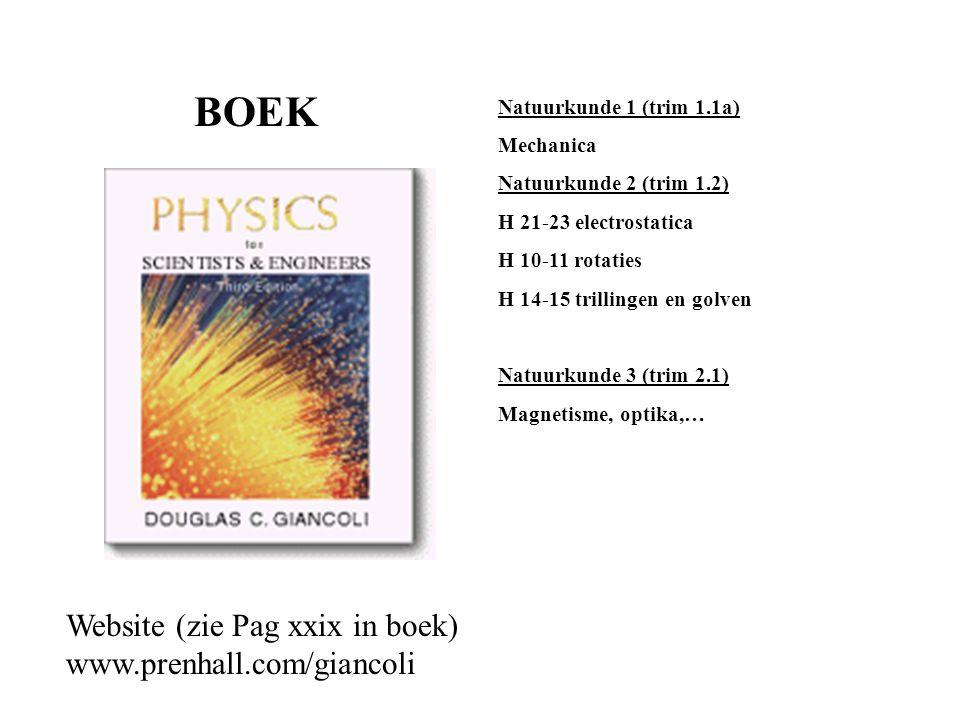 Natuurkunde 1 (trim 1.1a) Mechanica Natuurkunde 2 (trim 1.2) H 21-23 electrostatica H 10-11 rotaties H 14-15 trillingen en golven Natuurkunde 3 (trim