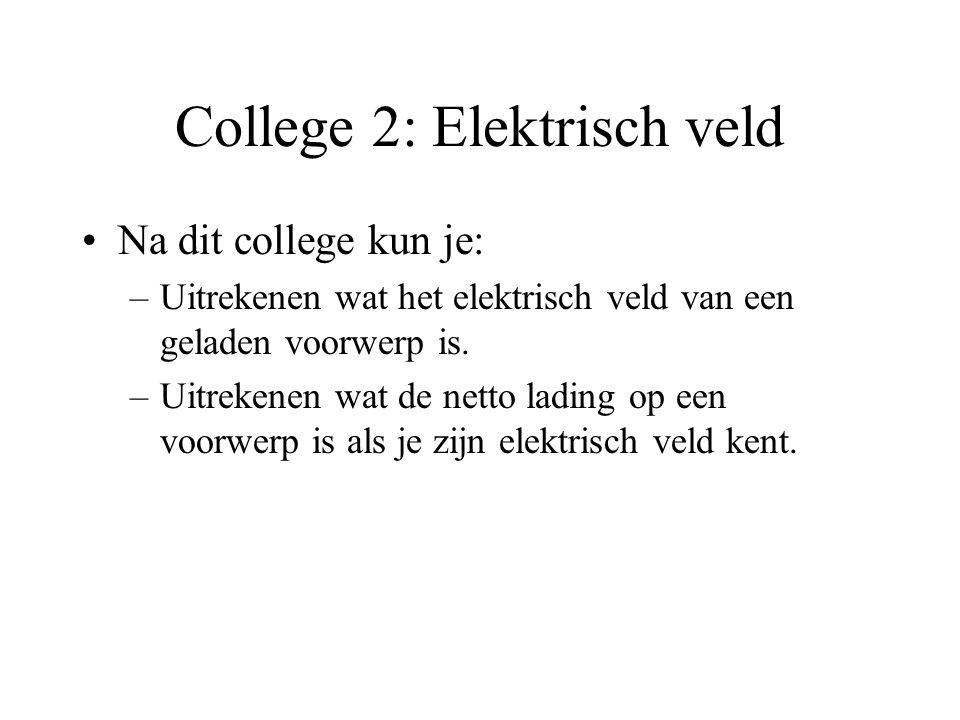 College 2: Elektrisch veld Na dit college kun je: –Uitrekenen wat het elektrisch veld van een geladen voorwerp is.