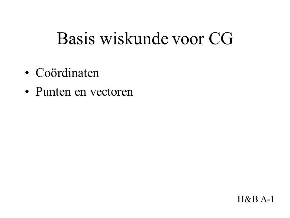Basis wiskunde voor CG Coördinaten Punten en vectoren H&B A-1