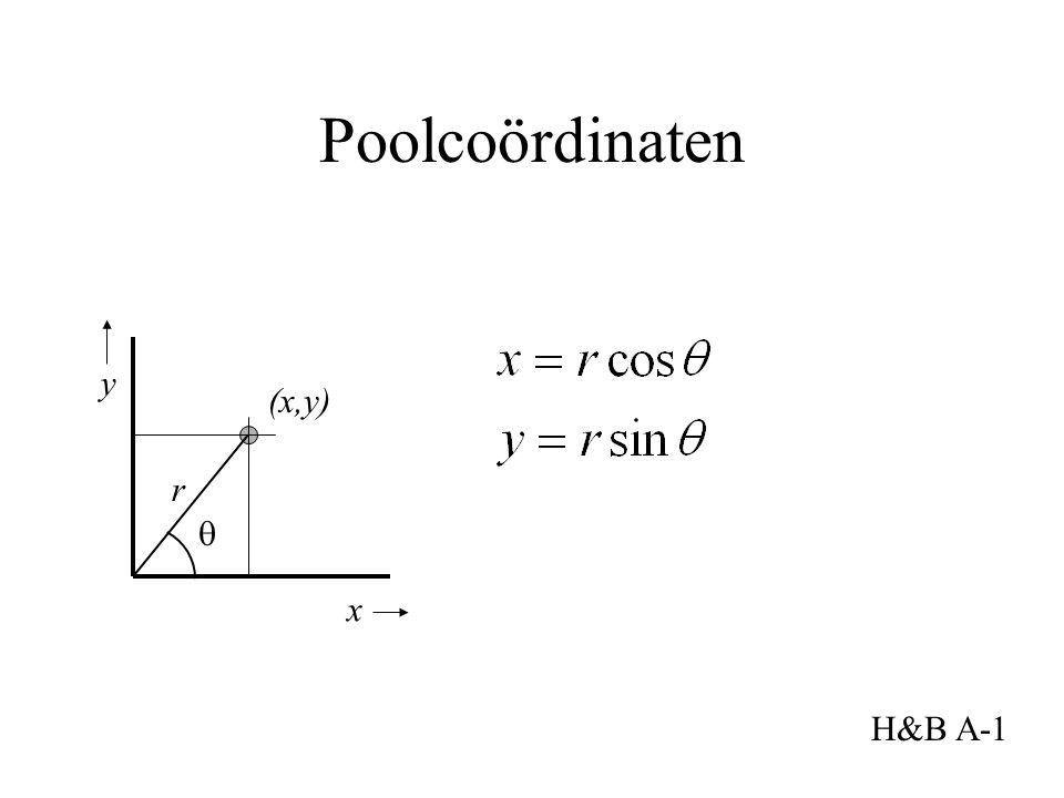 Poolcoördinaten x y (x,y) H&B A-1 r 