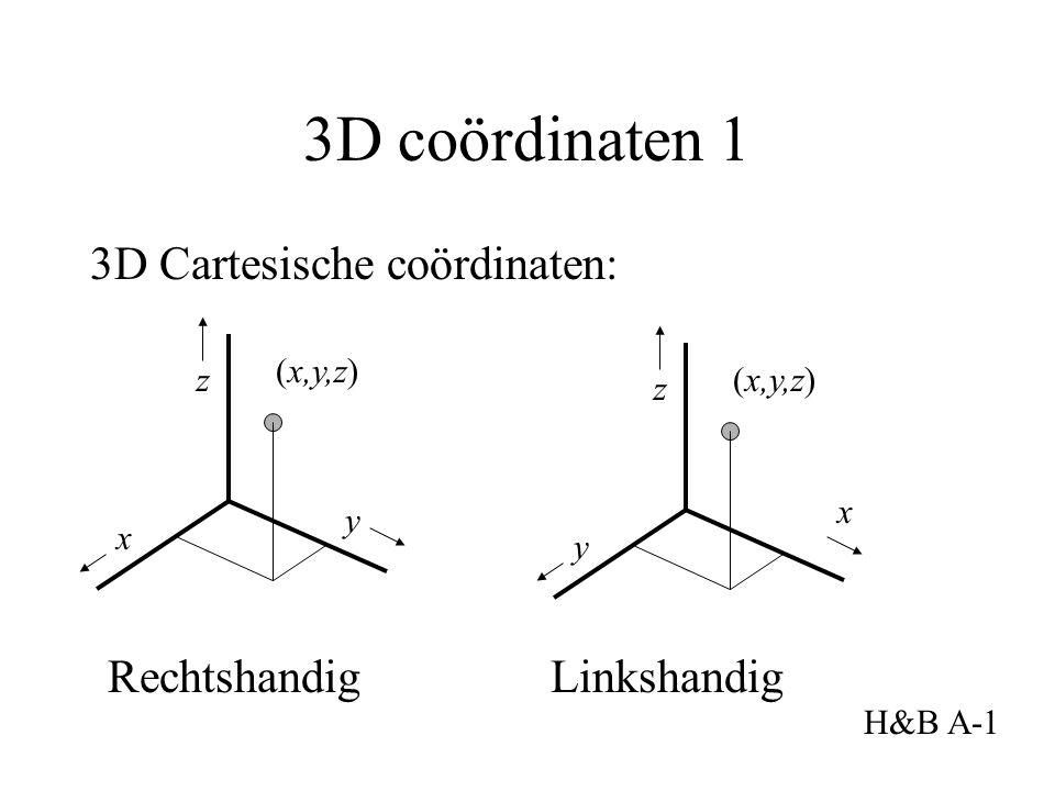 3D coördinaten 1 3D Cartesische coördinaten: x y (x,y,z) Rechtshandig Linkshandig H&B A-1 z x y (x,y,z) z