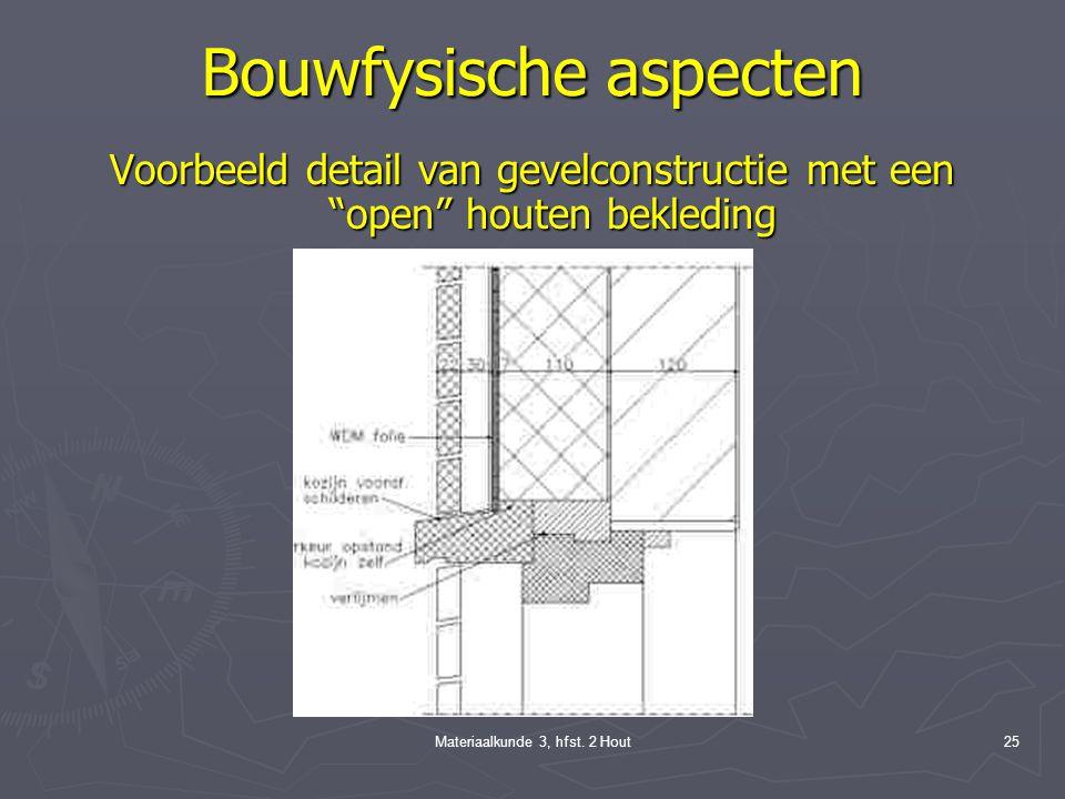 Materiaalkunde 3, hfst. 2 Hout24 Bouwfysische aspecten Spouwventilatie Gemeten verschil in warmtestroom bij spouwmuren met en zonder luchtspouw