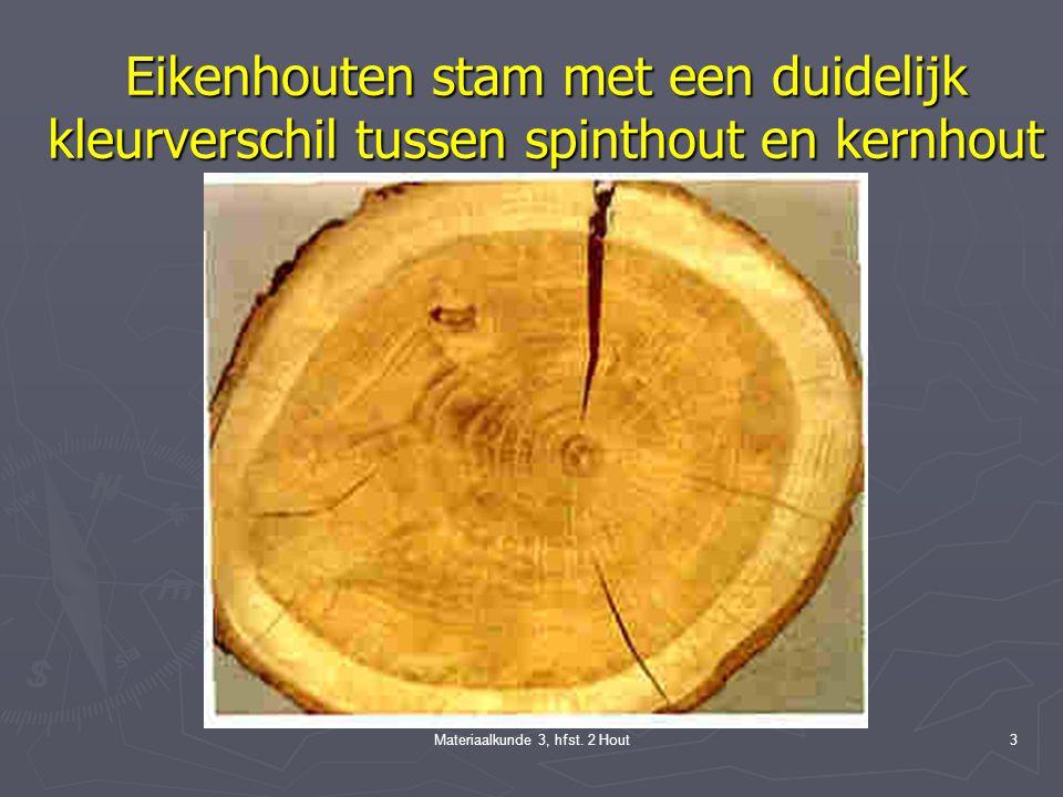 Materiaalkunde 3, hfst. 2 Hout2 Doorsneden van een boomstam A: dwarsdoorsnede B: lengtedoorsneden 1. schors 2. bast 3. schil 4. cambium 5. spinthout 6