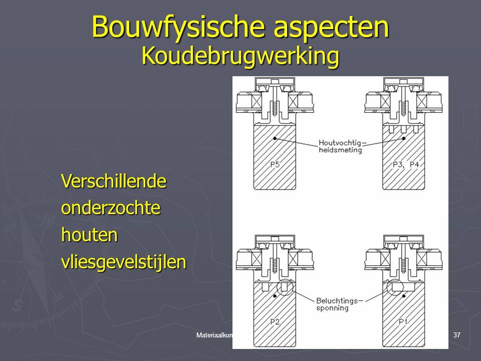 Materiaalkunde 3, hfst. 2 Hout36 Bouwfysische aspecten Koudebrugwerking Proefopstelling houten vliesgevel
