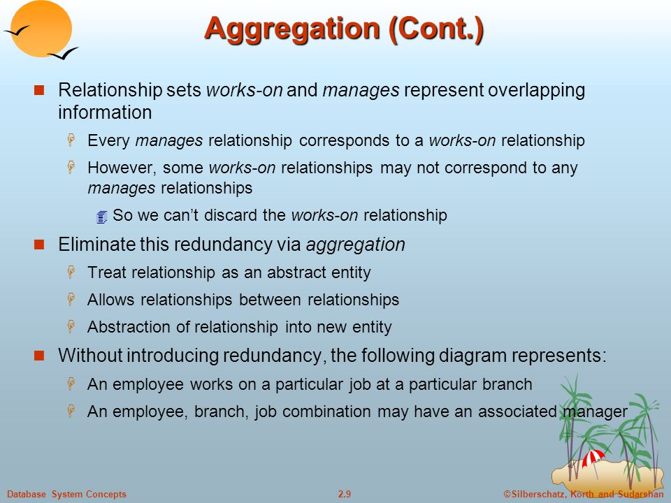 ©Silberschatz, Korth and Sudarshan2.9Database System Concepts Aggregation (Cont.) Relationship sets works-on and manages represent overlapping information  Every manages relationship corresponds to a works-on relationship  However, some works-on relationships may not correspond to any manages relationships  So we can't discard the works-on relationship Eliminate this redundancy via aggregation  Treat relationship as an abstract entity  Allows relationships between relationships  Abstraction of relationship into new entity Without introducing redundancy, the following diagram represents:  An employee works on a particular job at a particular branch  An employee, branch, job combination may have an associated manager