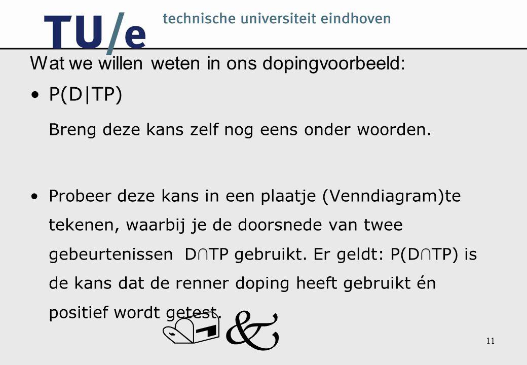 /k 11 Wat we willen weten in ons dopingvoorbeeld: P(D|TP) Breng deze kans zelf nog eens onder woorden.