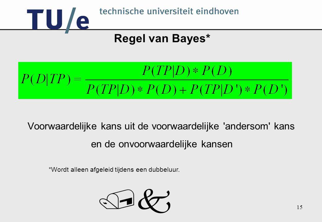 /k 15 Regel van Bayes* Voorwaardelijke kans uit de voorwaardelijke 'andersom' kans en de onvoorwaardelijke kansen *Wordt alleen afgeleid tijdens een d