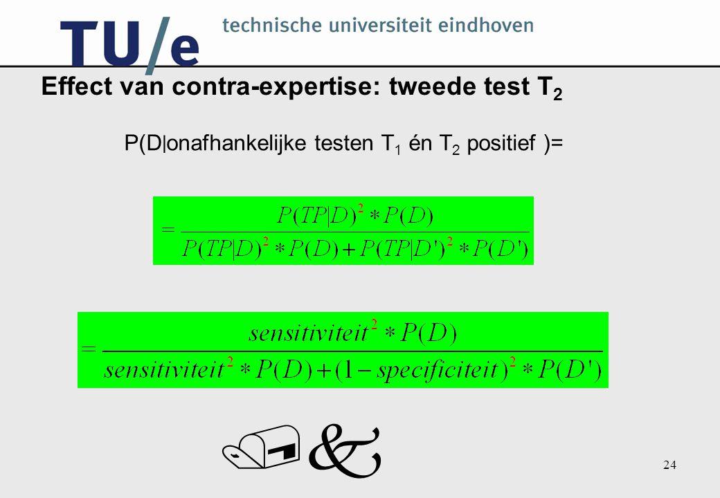 /k 24 Effect van contra-expertise: tweede test T 2 P(D  onafhankelijke testen T 1 én T 2 positief )=