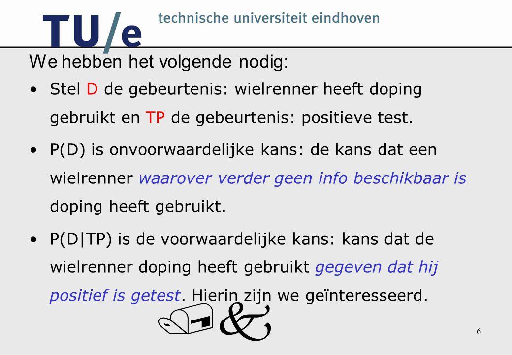 /k 6 We hebben het volgende nodig: Stel D de gebeurtenis: wielrenner heeft doping gebruikt en TP de gebeurtenis: positieve test. P(D) is onvoorwaardel