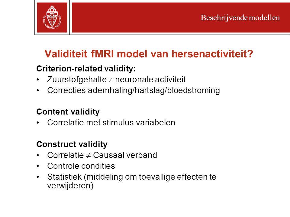 Validiteit fMRI model van hersenactiviteit.