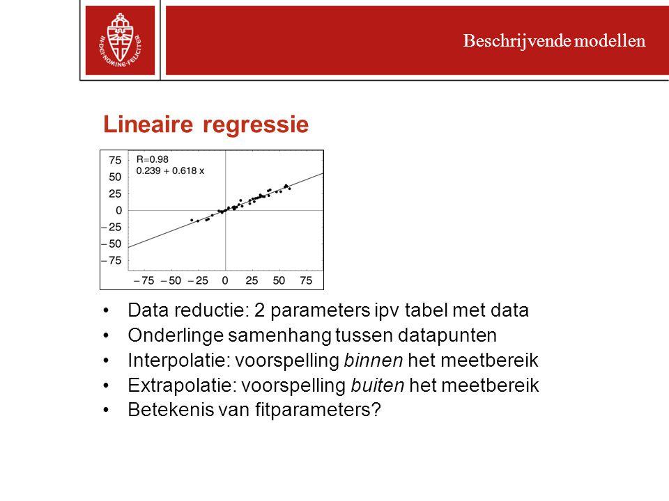 Lineaire regressie Data reductie: 2 parameters ipv tabel met data Onderlinge samenhang tussen datapunten Interpolatie: voorspelling binnen het meetbereik Extrapolatie: voorspelling buiten het meetbereik Betekenis van fitparameters.