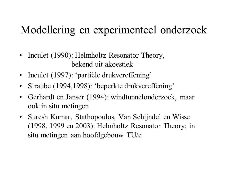 Modellering en experimenteel onderzoek Inculet (1990): Helmholtz Resonator Theory, bekend uit akoestiek Inculet (1997): 'partiële drukvereffening' Straube (1994,1998): 'beperkte drukvereffening' Gerhardt en Janser (1994): windtunnelonderzoek, maar ook in situ metingen Suresh Kumar, Stathopoulos, Van Schijndel en Wisse (1998, 1999 en 2003): Helmholtz Resonator Theory; in situ metingen aan hoofdgebouw TU/e
