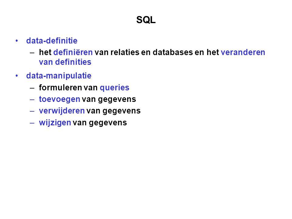 Taal en DBMS een querytaal is nauw verbonden met een DBMS om gegevens te gaan definiëren zijn meestal privileges (autorisatie) nodig SQL (of de SQL-omgeving) biedt faciliteiten voor de toegang tot de gegevens eerst inloggen op het DBMS Interactief gebruik
