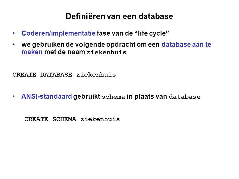 Definiëren van een tabel we beginnen met de volgende uitdrukking als we een tabel willen definiëren met gegevens over patiënten CREATE TABLE patienten het DBMS weet dan dat er een tabel gaat zijn met gegevens over patiënten