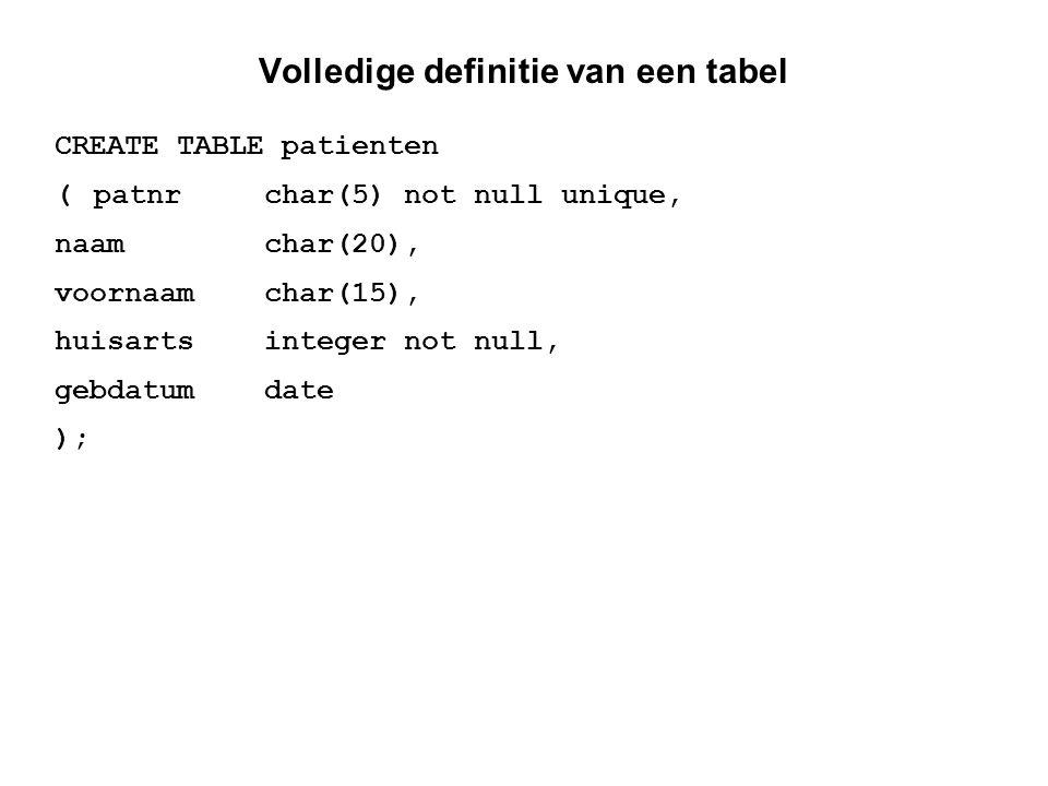 Veranderen van definities verwijderen van een database DROP DATABASE ziekenhuis; verwijderen van een tabel DROP TABLE patienten; veranderen van een tabel ALTER TABLE patienten DROP huisarts; ALTER TABLE patienten ADD aantkind integer;
