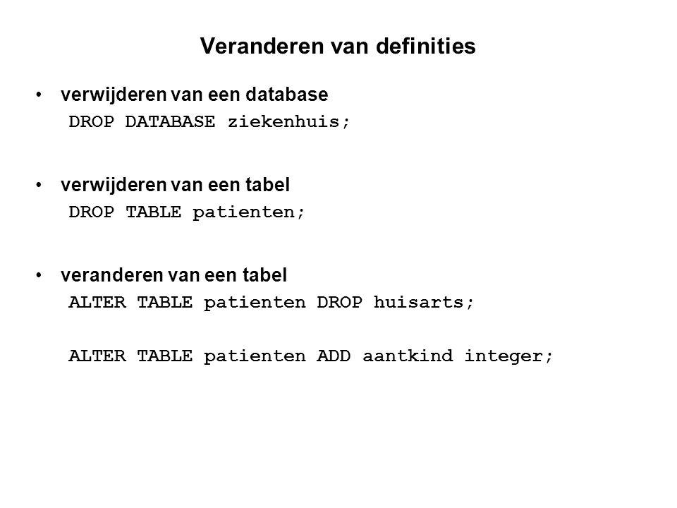 Onderhouden van privileges SQL biedt commando's voor het onderhouden van de toegangsrechten GRANT SELECT..