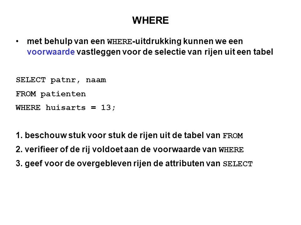 Voorbeeld SELECT patnr, naam FROM patienten WHERE huisarts = 13; patnrnaamvoornaamhuisartsgebdatum 12345AppelsArno1303-05-68 23456PerenPom1323-06-70 34567StormsPim1413-06-36 12346AppelsArno1423-12-45 24564JanssenJeff1501-07-39 76543BrandsmaHein1501-11-71 patnrnaam 12345Appels 23456Peren resultaat