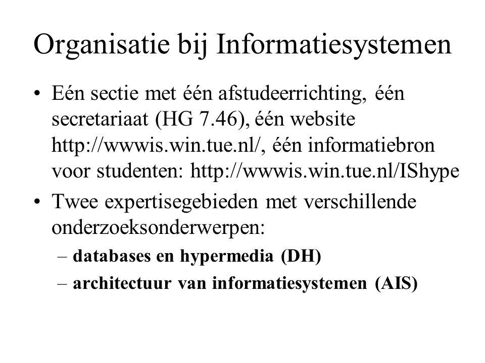 Organisatie bij Informatiesystemen Eén sectie met één afstudeerrichting, één secretariaat (HG 7.46), één website http://wwwis.win.tue.nl/, één informa