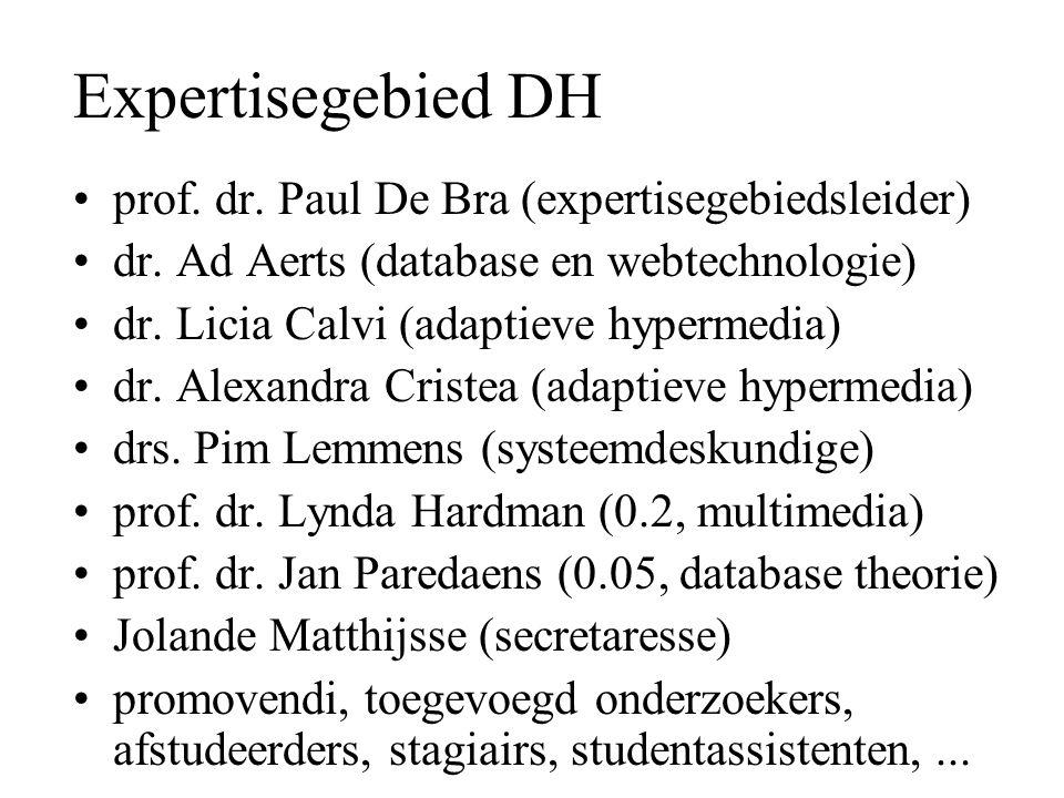 Expertisegebied DH prof. dr. Paul De Bra (expertisegebiedsleider) dr. Ad Aerts (database en webtechnologie) dr. Licia Calvi (adaptieve hypermedia) dr.