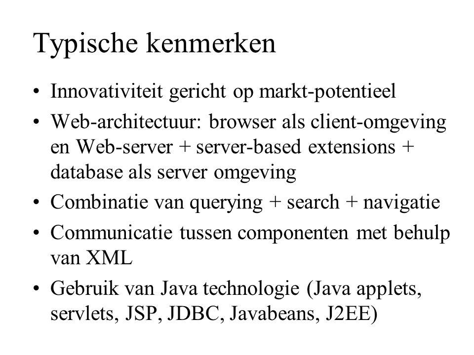 Typische kenmerken Innovativiteit gericht op markt-potentieel Web-architectuur: browser als client-omgeving en Web-server + server-based extensions +