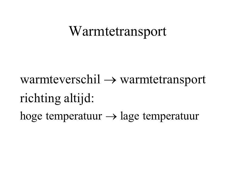 Warmtetransport warmteverschil  warmtetransport richting altijd: hoge temperatuur  lage temperatuur