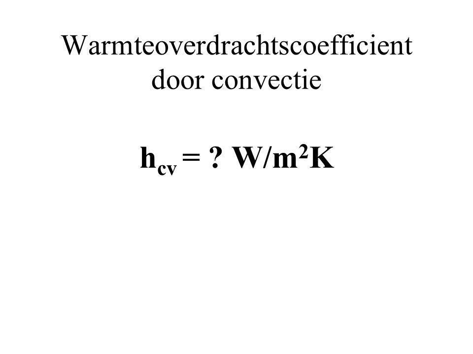 Warmteoverdrachtscoefficient door convectie h cv = ? W/m 2 K