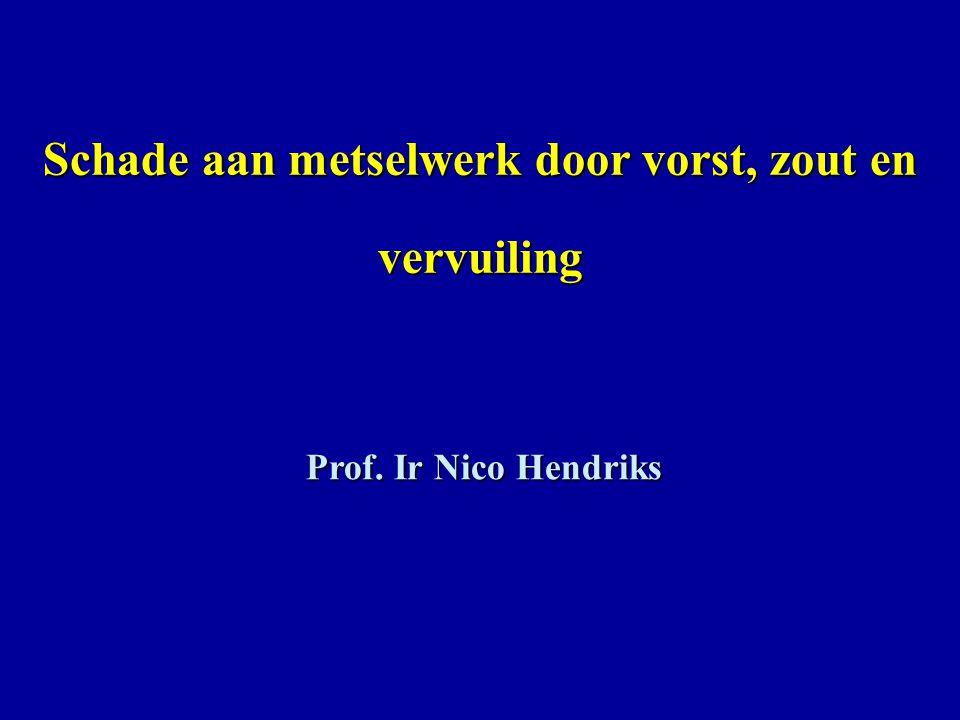 Schade aan metselwerk door vorst, zout en vervuiling Prof. Ir Nico Hendriks