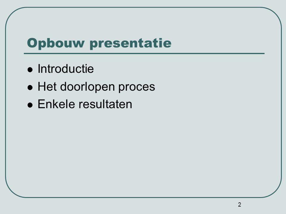 2 Opbouw presentatie Introductie Het doorlopen proces Enkele resultaten
