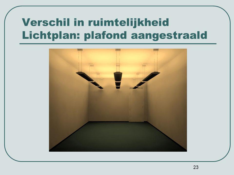 23 Verschil in ruimtelijkheid Lichtplan: plafond aangestraald