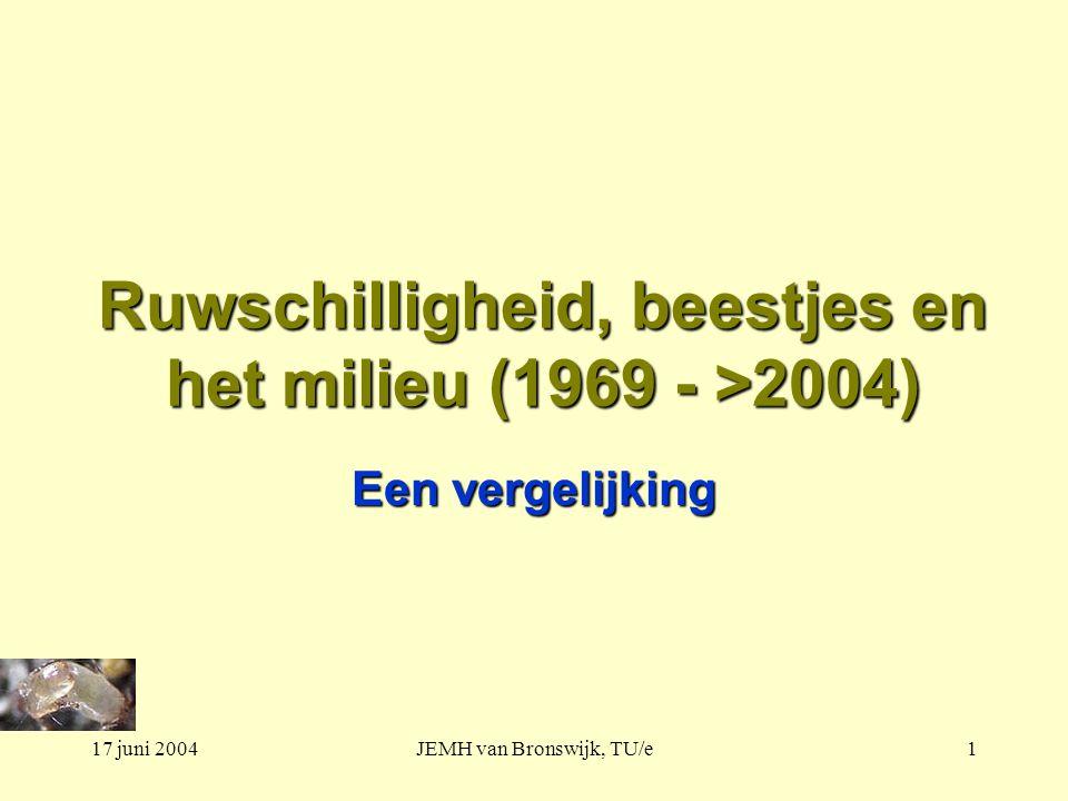 17 juni 2004JEMH van Bronswijk, TU/e1 Ruwschilligheid, beestjes en het milieu (1969 - >2004) Een vergelijking