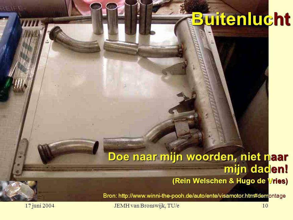 17 juni 2004JEMH van Bronswijk, TU/e10 Buitenlucht Doe naar mijn woorden, niet naar mijn daden! (Rein Welschen & Hugo de Vries) Bron: http://www.winni