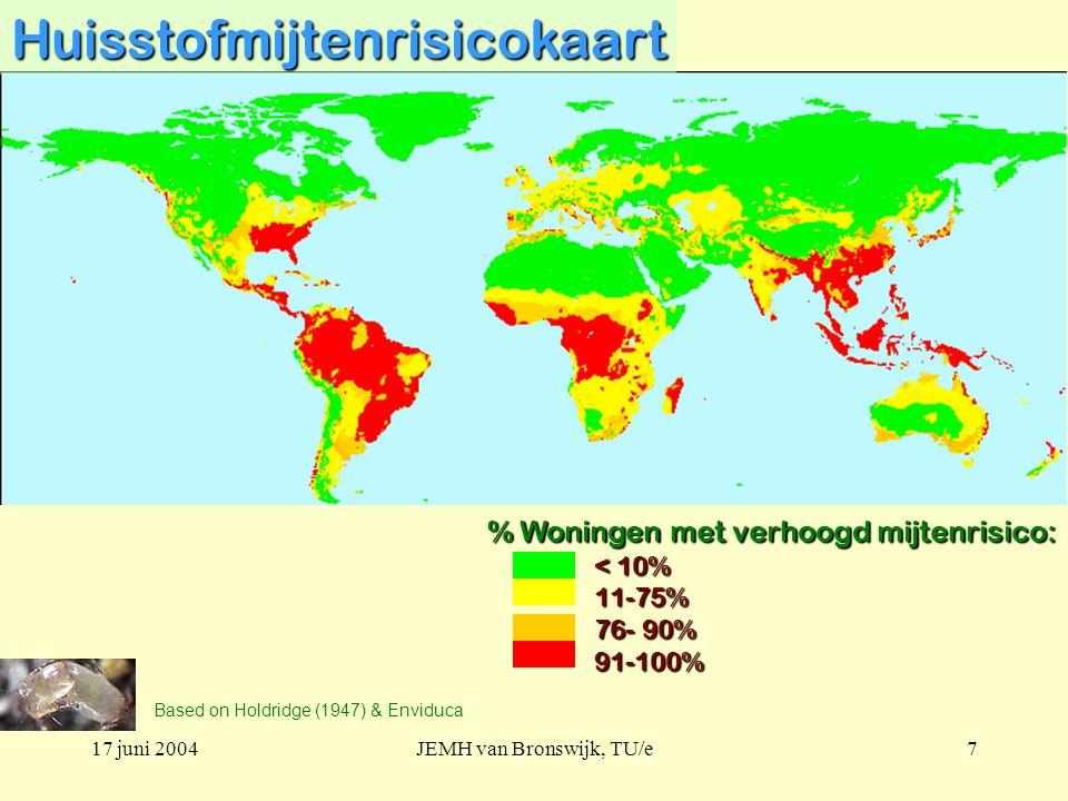 17 juni 2004JEMH van Bronswijk, TU/e7Huisstofmijtenrisicokaart Based on Holdridge (1947) & Enviduca % Woningen met verhoogd mijtenrisico: < 10% 11-75% 76- 90% 91-100%