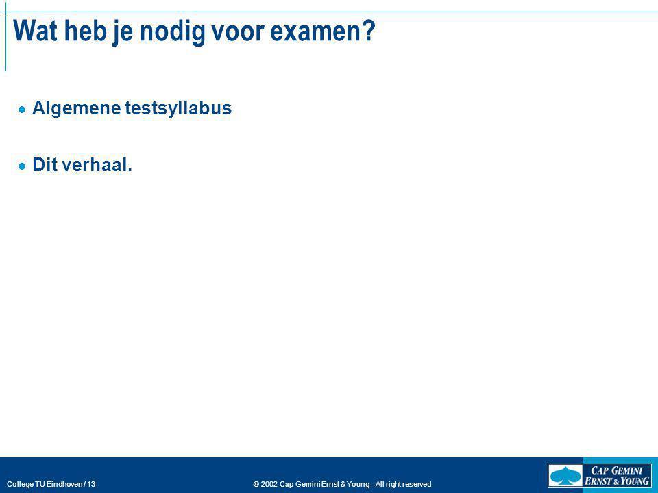 © 2002 Cap Gemini Ernst & Young - All right reserved College TU Eindhoven / 13 Wat heb je nodig voor examen?  Algemene testsyllabus  Dit verhaal.