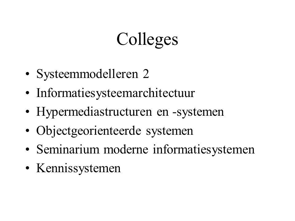 Colleges Systeemmodelleren 2 Informatiesysteemarchitectuur Hypermediastructuren en -systemen Objectgeorienteerde systemen Seminarium moderne informatiesystemen Kennissystemen