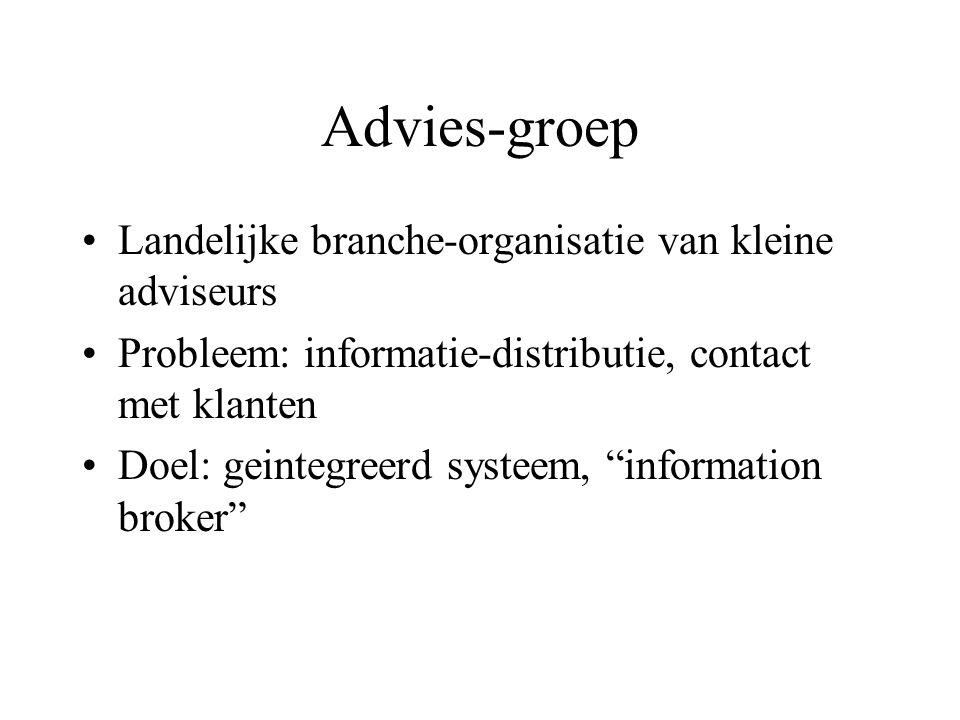 Advies-groep Landelijke branche-organisatie van kleine adviseurs Probleem: informatie-distributie, contact met klanten Doel: geintegreerd systeem, information broker