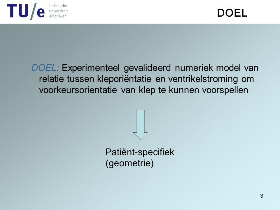 3 DOEL DOEL: Experimenteel gevalideerd numeriek model van relatie tussen kleporiëntatie en ventrikelstroming om voorkeursorientatie van klep te kunnen
