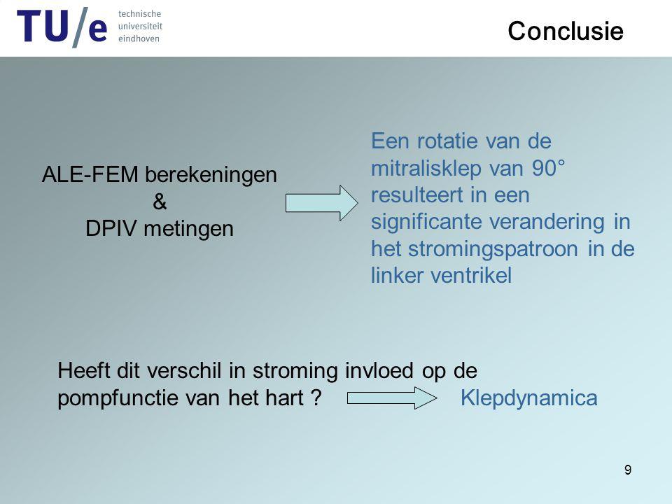 9 Conclusie ALE-FEM berekeningen & DPIV metingen Een rotatie van de mitralisklep van 90° resulteert in een significante verandering in het stromingspa