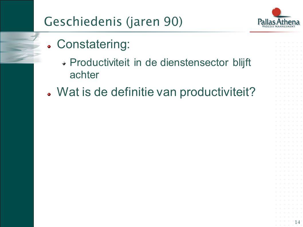 14 Geschiedenis (jaren 90) Constatering: Productiviteit in de dienstensector blijft achter Wat is de definitie van productiviteit?