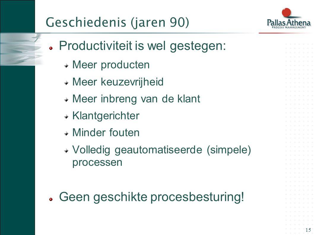 15 Geschiedenis (jaren 90) Productiviteit is wel gestegen: Meer producten Meer keuzevrijheid Meer inbreng van de klant Klantgerichter Minder fouten Vo