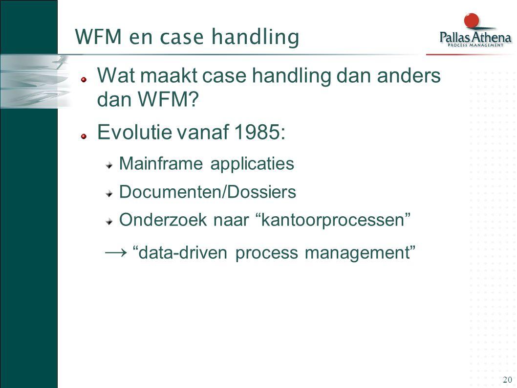 """20 WFM en case handling Wat maakt case handling dan anders dan WFM? Evolutie vanaf 1985: Mainframe applicaties Documenten/Dossiers Onderzoek naar """"kan"""