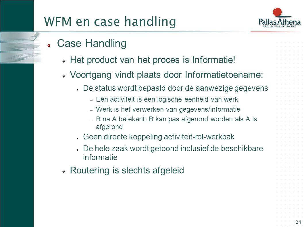 24 WFM en case handling Case Handling Het product van het proces is Informatie! Voortgang vindt plaats door Informatietoename: ● De status wordt bepaa
