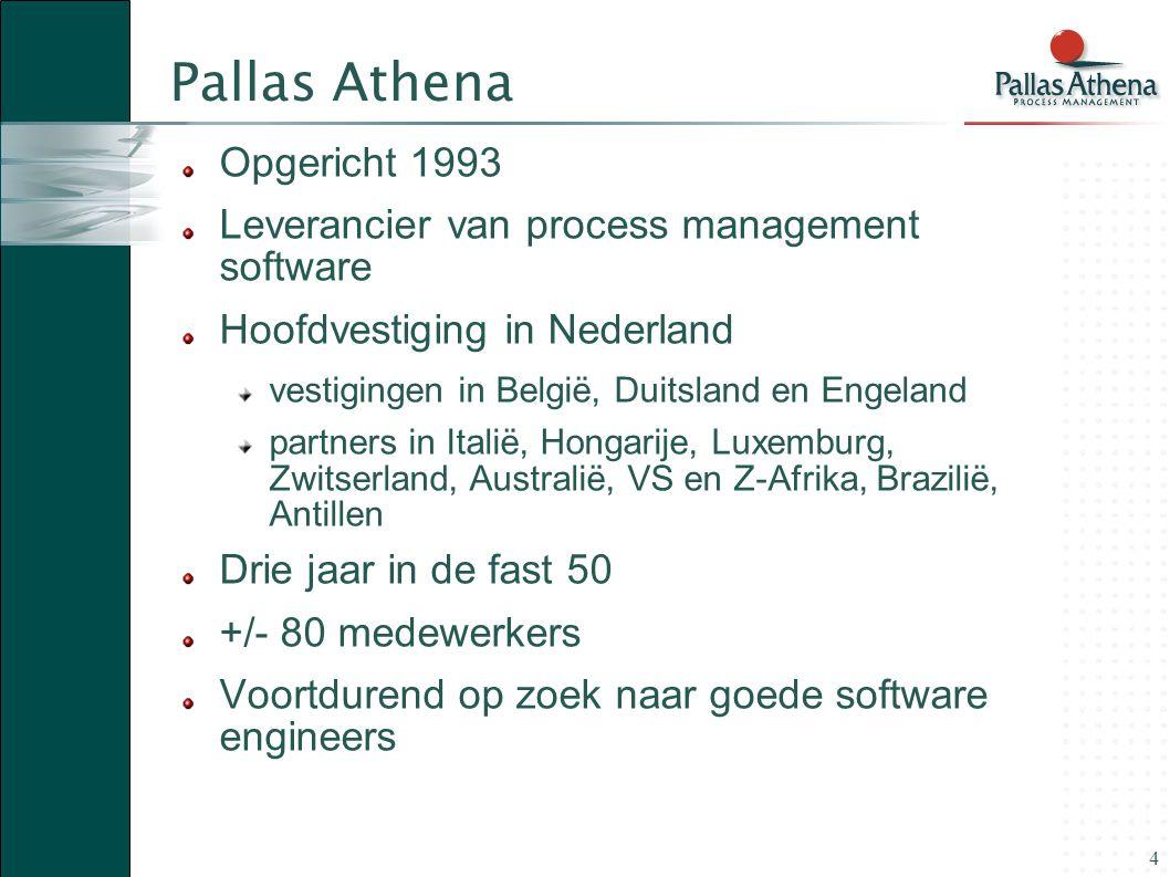 4 Pallas Athena Opgericht 1993 Leverancier van process management software Hoofdvestiging in Nederland vestigingen in België, Duitsland en Engeland pa