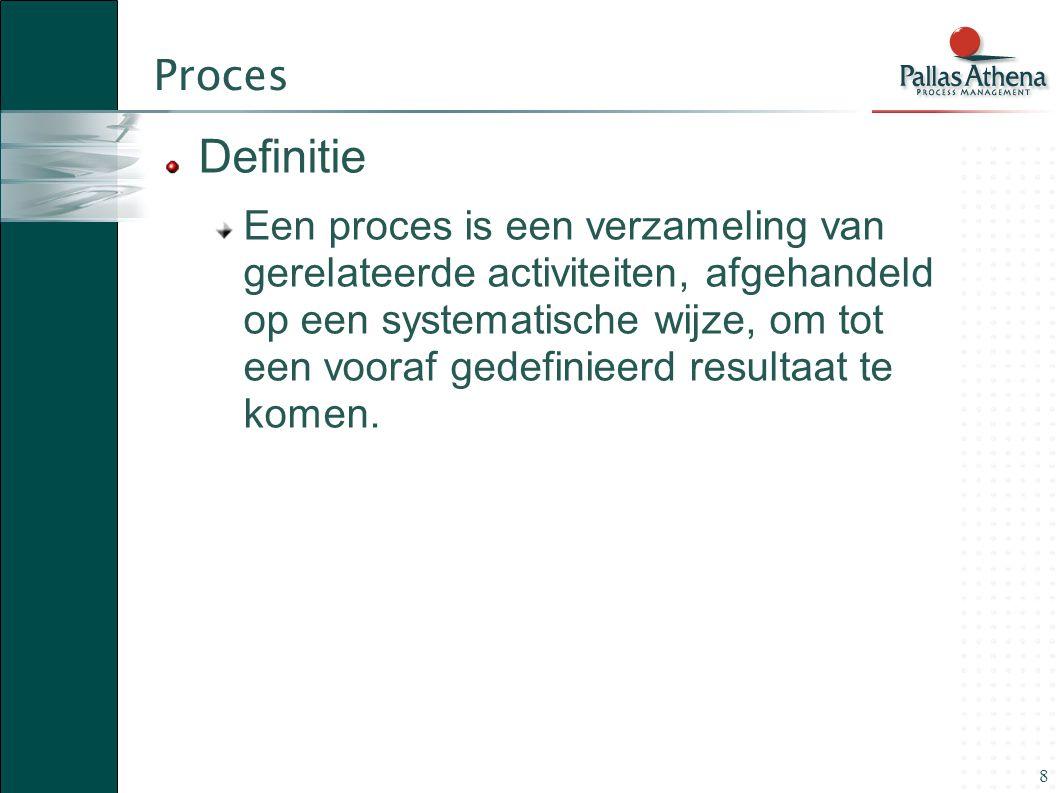 8 Proces Definitie Een proces is een verzameling van gerelateerde activiteiten, afgehandeld op een systematische wijze, om tot een vooraf gedefinieerd