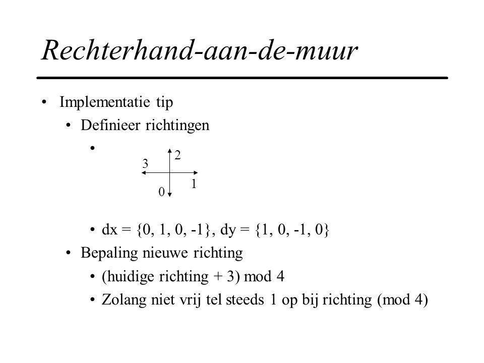 Rechterhand-aan-de-muur Implementatie tip Definieer richtingen dx = {0, 1, 0, -1}, dy = {1, 0, -1, 0} Bepaling nieuwe richting (huidige richting + 3)