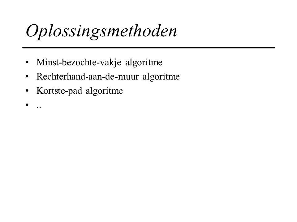 Oplossingsmethoden Minst-bezochte-vakje algoritme Rechterhand-aan-de-muur algoritme Kortste-pad algoritme..