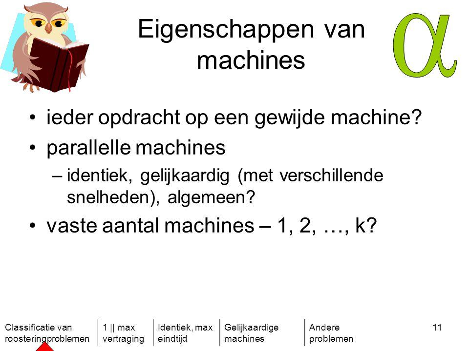 Classificatie van roosteringproblemen 1 || max vertraging Identiek, max eindtijd Gelijkaardige machines Andere problemen 11 Eigenschappen van machines ieder opdracht op een gewijde machine.