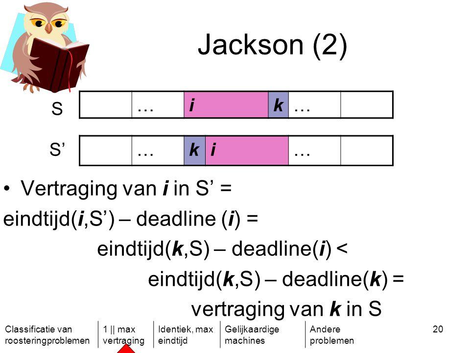 Classificatie van roosteringproblemen 1 || max vertraging Identiek, max eindtijd Gelijkaardige machines Andere problemen 20 Jackson (2) …ik… S S'…ki… Vertraging van i in S' = eindtijd(i,S') – deadline (i) = eindtijd(k,S) – deadline(i) < eindtijd(k,S) – deadline(k) = vertraging van k in S