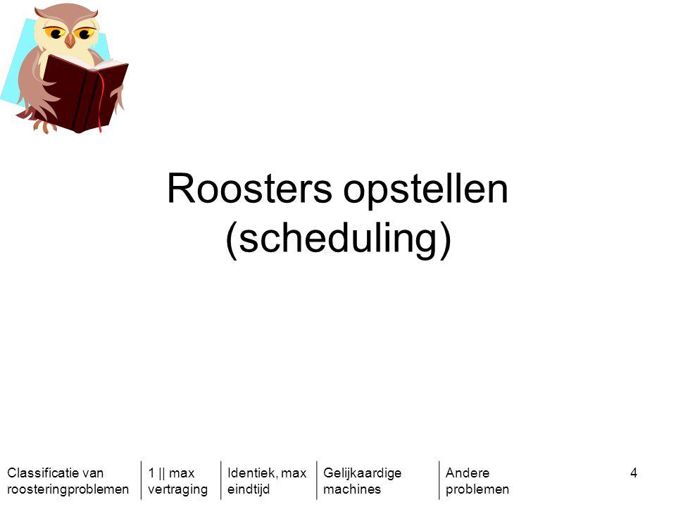 Classificatie van roosteringproblemen 1 || max vertraging Identiek, max eindtijd Gelijkaardige machines Andere problemen 15 Meerdere soorten staal moeten ingepland worden in een gietvorm.